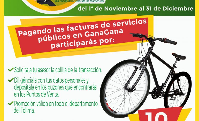 ¡Pague sus servicios públicos en GanaGana y Gánese una bicicleta!
